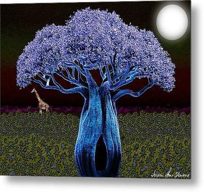 Metal Print featuring the digital art Violet Blue Baobab by Iowan Stone-Flowers
