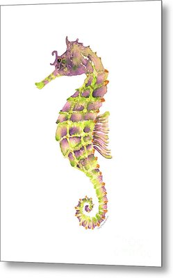 Violet Green Seahorse Metal Print by Amy Kirkpatrick
