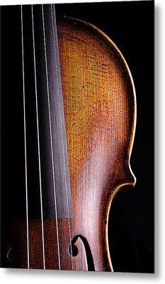 Violin Isolated On Black Metal Print by M K  Miller