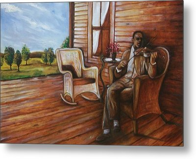 Metal Print featuring the painting Violin Man by Emery Franklin