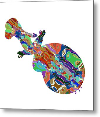 Violin Music Instrument Graphic Abstract Design Colorful Art Metal Print by Navin Joshi