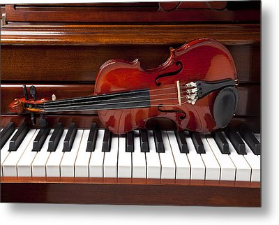 Violin On Piano Metal Print by Garry Gay