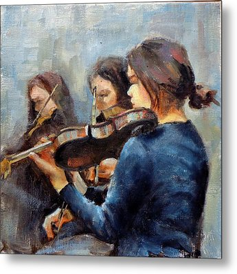 Violin Practice Metal Print by Donna Shortt