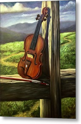 Metal Print featuring the painting Violin by Randol Burns