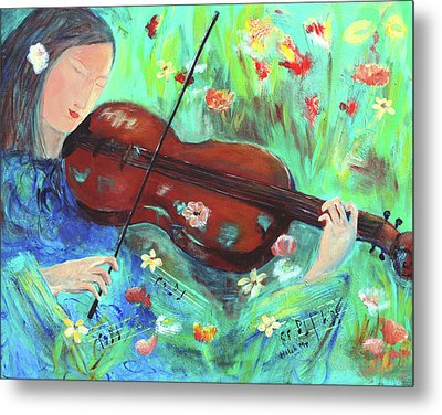 Violinist In Garden Metal Print