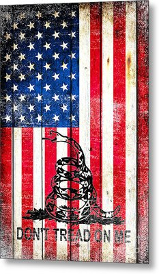 Viper On American Flag On Old Wood Planks Vertical Metal Print by M L C