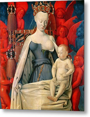 Virgin And Child Surrounded By Angels Metal Print by Jean Fouquet
