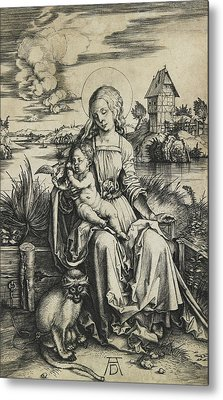 Virgin And Child With The Monkey Metal Print
