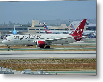 Metal Print featuring the photograph Virgin Atlantic Boeing 787-9 G-vzig Los Angeles International Airport May 3 2016 by Brian Lockett