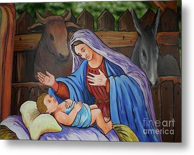 Virgin Mary And Baby Jesus Metal Print by Gaspar Avila