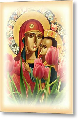 Virgin Mary And Tulips      Metal Print by Sarah Loft