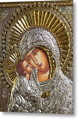 Virgin Mary With Child Jesus Greek Icon Metal Print