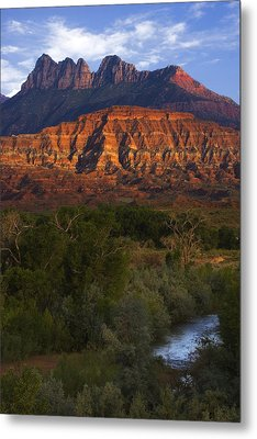 Virgin River Near Zion National Park Metal Print by Utah Images