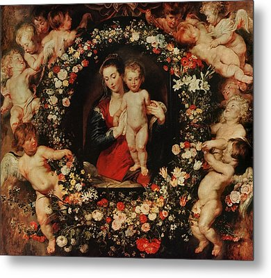 Virgin With A Garland Of Flowers Metal Print by Peter Paul Rubens