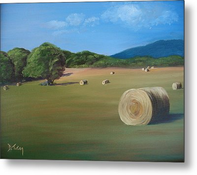 Metal Print featuring the painting Virginia Hay Bales by Donna Tuten