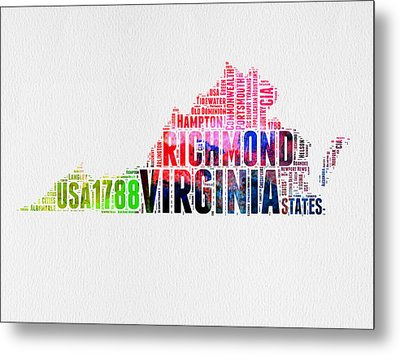 Virginia Watercolor Word Map Metal Print by Naxart Studio