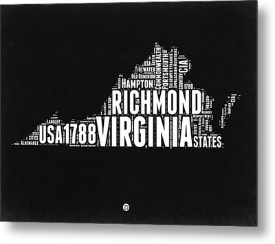 Virginia Word Cloud Black And White Map Metal Print by Naxart Studio