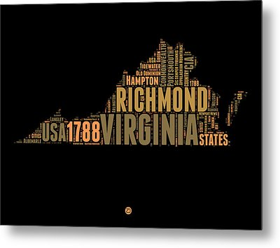 Virginia Word Cloud Map 1 Metal Print by Naxart Studio