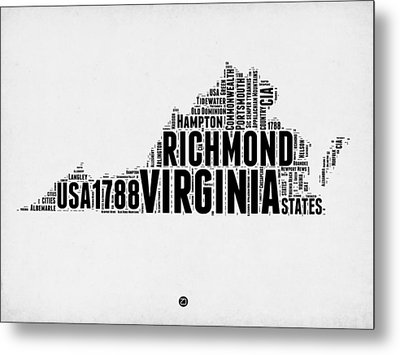 Virginia Word Cloud Map 2 Metal Print by Naxart Studio