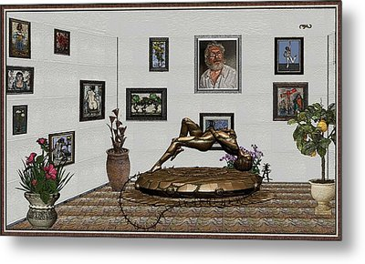Metal Print featuring the mixed media Virtual Exhibition -statue Of Girl by Pemaro