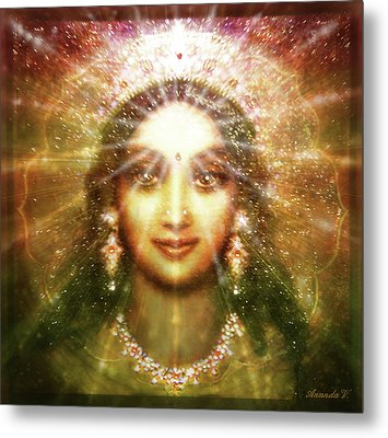 Vision Of The Goddess - Light Metal Print by Ananda Vdovic