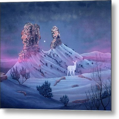 Vision Of The Legend Of White Deer Woman-chimney Rock Colorado Metal Print by Anastasia Savage Ealy