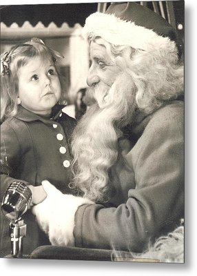 Visiting Santa For The First Time Metal Print by Judyann Matthews