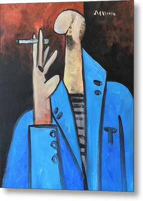 Vitae The Smoker In A Blue Blazer  Metal Print by Mark M Mellon