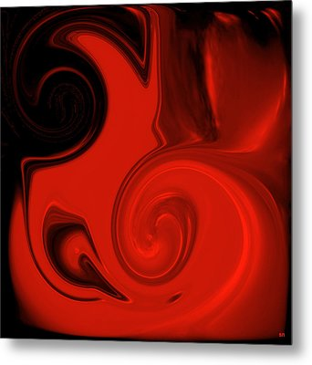 Vivid Red Vase    Pottery Collection Metal Print by Sherri's Of Palm Springs