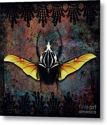 Vlad Tepes Insectus, Winged Beetle, Gothic Theme Metal Print by Tina Lavoie