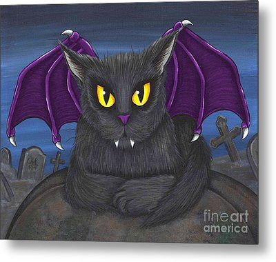 Metal Print featuring the painting Vlad Vampire Cat by Carrie Hawks