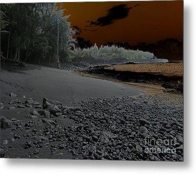 Volcanic Beach Metal Print by Silvie Kendall