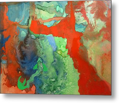 Metal Print featuring the mixed media Volcanic Island by Mary Ellen Frazee