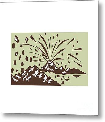 Volcano Eruption Island Woodcut Metal Print by Aloysius Patrimonio