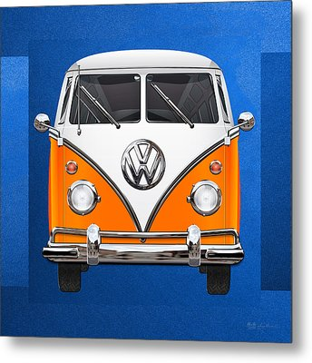 Volkswagen Type - Orange And White Volkswagen T 1 Samba Bus Over Blue Canvas Metal Print by Serge Averbukh