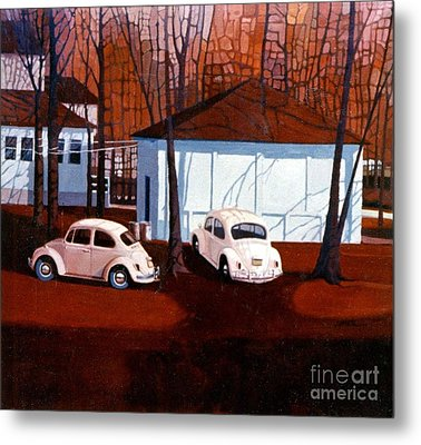 Volkswagons In Red Metal Print by Donald Maier