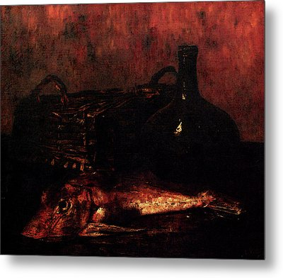 Vollon Antoine A Still Life With A Fish A Bottle And A Wicker Basket Metal Print by Vollon
