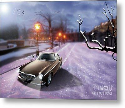 Volvo P1800 Snow Scene Metal Print by Linton Hart