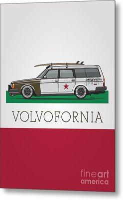 Volvofornia Slammed Volvo 245 240 Wagon California Style Metal Print by Monkey Crisis On Mars