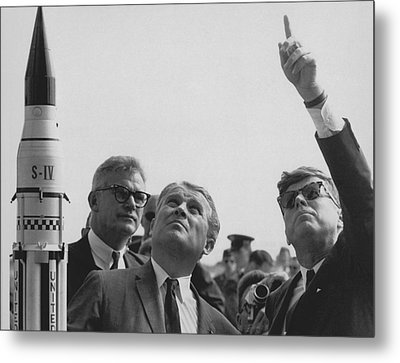 Von Braun And Jfk Looking Towards The Sky Metal Print by War Is Hell Store