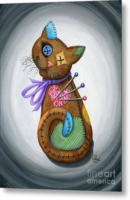 Metal Print featuring the painting Voodoo Cat Doll - Patchwork Cat by Carrie Hawks