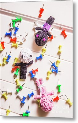Voodoo Dolls Surrounded By Colorful Thumbtacks Metal Print