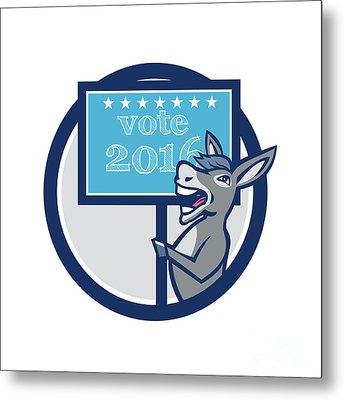 Vote 2016 Democrat Donkey Mascot Circle Cartoon Metal Print