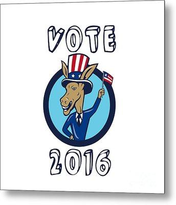 Vote 2016 Democrat Donkey Mascot Flag Circle Cartoon Metal Print