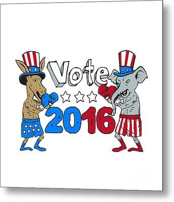 Vote 2016 Donkey Boxer And Elephant Mascot Cartoon Metal Print by Aloysius Patrimonio