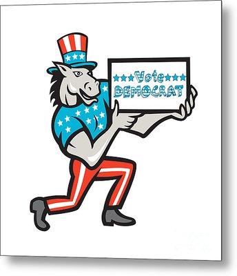 Vote Democrat Donkey Mascot Cartoon Metal Print