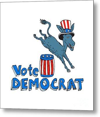 Vote Democrat Donkey Mascot Jumping Over Barrel Cartoon Metal Print by Aloysius Patrimonio