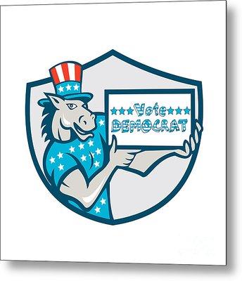 Vote Democrat Donkey Mascot Shield Cartoon Metal Print by Aloysius Patrimonio