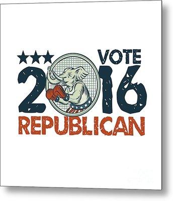 Vote Republican 2016 Elephant Boxer Circle Etching Metal Print