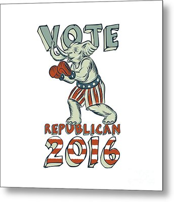 Vote Republican 2016 Elephant Boxer Isolated Etching Metal Print